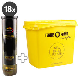 18 Dosen US Open 4er plus Tennis-Point Balleimer